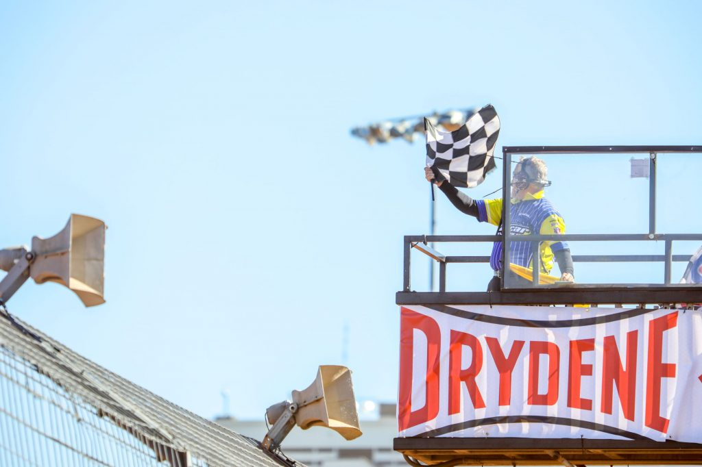 Drydene World Short Track Championship wave the checkered flag